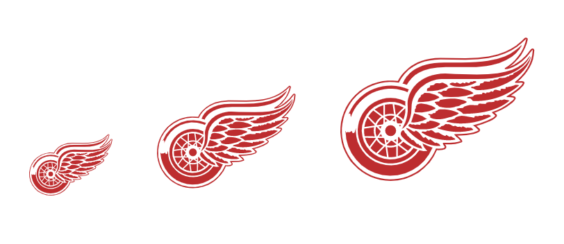 Detriot Red Wings logo sizes